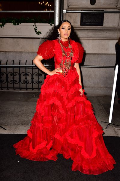 Singer Cardi B, in Dolce & Gabbana, at the Harper's Bazaar Icons party in New York, September, 2018