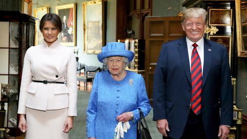 The heads of state are meeting over tea for 30 minutes before Mr Trump departs England for a weekend in Scotland. Picture: AP