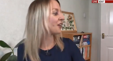 The Sky news reporter apologised after her son came into the room asking for biscuits.