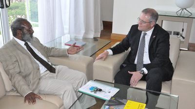 <p>Here he speaks with Papua New Guinea Attorney General Kerenga Kua during a meeting in Port Moresby, Thursday, September 26, 2013 ahead of a meeting with Prime Minister Peter O'Neill and a trip to Australia's detention centre on Manus Island.</p>