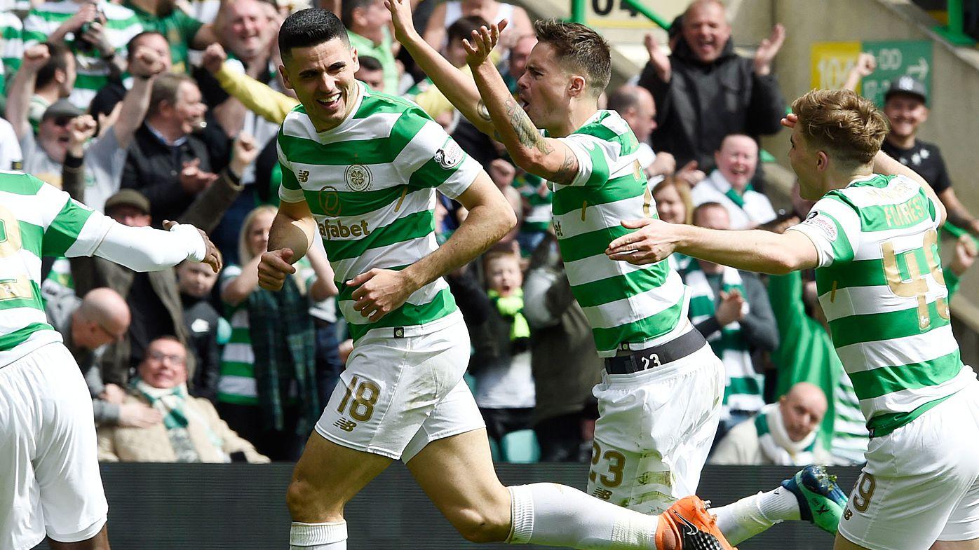 Socceroos striker Tom Rogic scores as Celtic wrap up Scottish Premier League title
