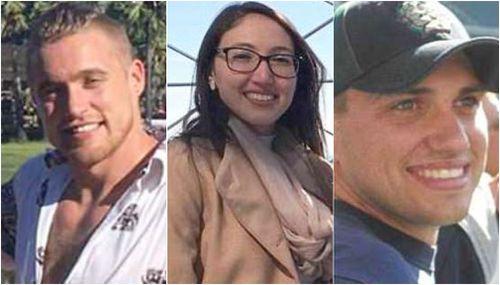James Pedroza (left), pilot Erik Valente (middle) and Iris Carolina Garcia Rodriguez (right) were also killed.