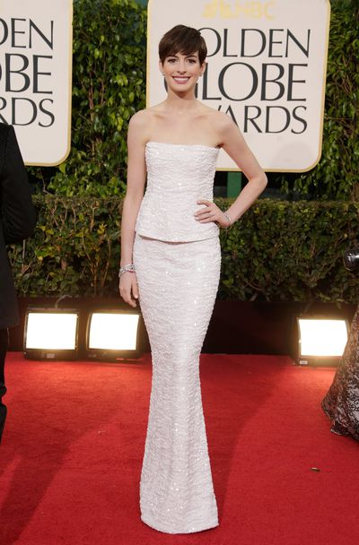 Anne Hathaway in Chanel at the 2013 Golden Globes.