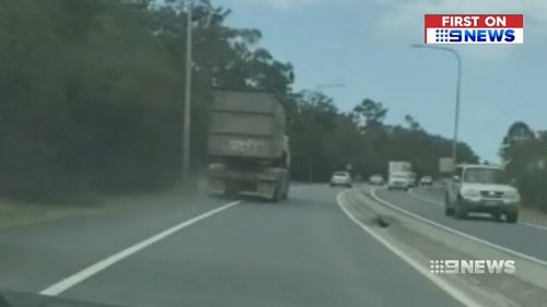 Police believe the truck may be responsible for a six-car pile up.