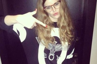 We just love that she captioned this Insta-snap 'Gangsta Nerd'.