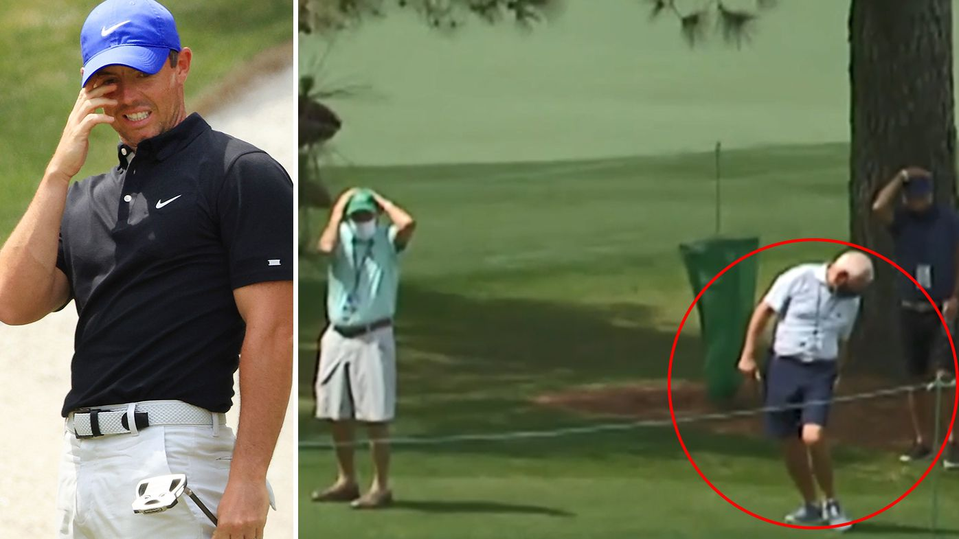 'He's hit his dad!': Errant Rory McIlroy approach shot hits father in the crowd at The Masters