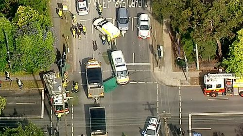 A stretch of Peats Ferry Road was closed after the accident yesterday. (9NEWS)