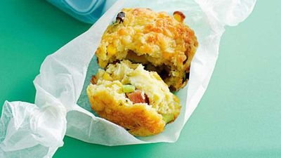 Cheese, corn and bacon muffins