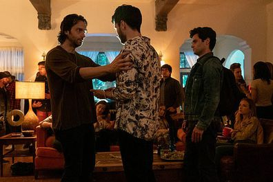 Penn Badgley, Chris D'Elia, You, Season 2, scene