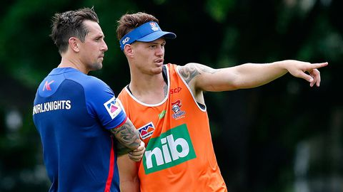 Star Newcastle Knights signing Mitchell Pearce (left) chats with Kalyn Ponga
