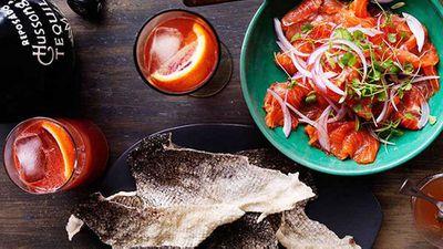 "Recipe:<a href=""http://kitchen.nine.com.au/2016/05/16/14/12/trout-ceviche-and-crisp-fish-skins"" target=""_top"">Trout ceviche and crisp fish skins</a>"