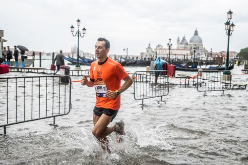 It was unfortunate timing for the Venice Marathon although some runners still attempted the course.