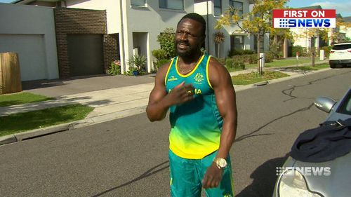 Nursing a torn bicep, the athlete noticed his car had been broken into when he woke this morning, before he realised the treasured medal was gone. Picture: 9NEWS.