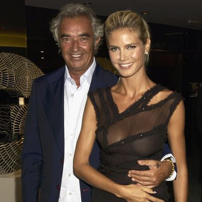 Heidi Klum and Flavio Briatore attend the GQ Magazine of The year Awards 2003 in the Floral Hall at the Royal Opera House in Covent Garden on September 3, 2003 in London.