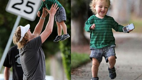 Owen Wilson playing with his adorable son, Robert.