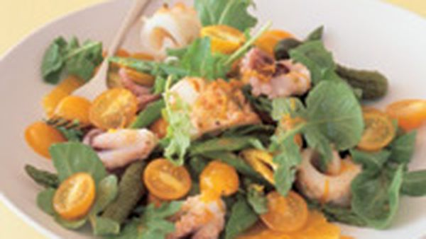 Grilled squid and octopus salad
