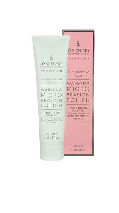 "<p><a href=""http://sanctuaryaustralia.com.au/skincare/product-type/exfoliators/warming-microbrasion-polish.html"" target=""_blank""><em>Sanctuary Spa Warming Microbrasion Polish</em></a> - This polish warms skin to help stimulate circulation and exfoliate skin.</p>"