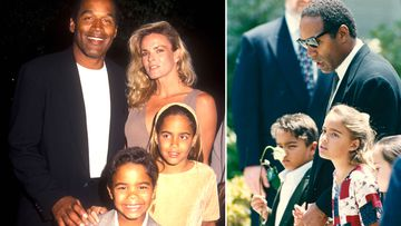 OJ Simpson, Nicole Brown Simpson and their children Sydney and Justin (left). OJ, Sydney and Justin attend Nicole Brown Simpson's funeral (Getty).