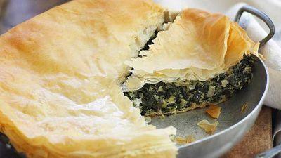 "Recipe:&nbsp;<a href=""http://kitchen.nine.com.au/2016/05/16/11/17/easter-cheese-and-spinach-pie"" target=""_top"">Easter cheese and spinach pie</a>"
