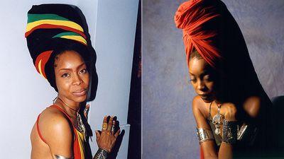 American singer Erykah Badu's head scarf is her signature style.