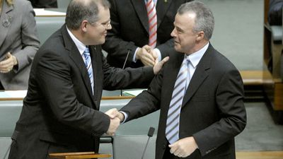 <p>Before he was elected as the Member for Cook in Sydney's south in 2007 Mr Morrison was the managing director of Tourism Australia and NSW State Director of the Liberal Party from 2000 to 2004.</p> <p>In this photo he is congratulated by then Liberal Leader Brendan Nelson after delivering his maiden speech on Valentine's Day, 2008.</p>