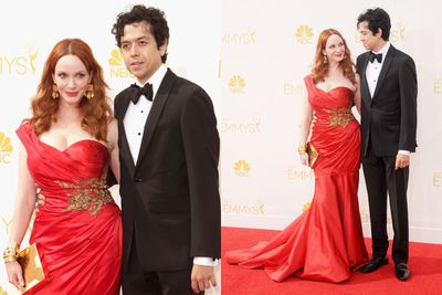 <i>Mad Men</i>'s scarlet woman is a red-hot goddess as always. Actor husband Geoffrey Arend (<i>Body of Proof</i>) totally hit the jackpot.