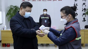 Chinese President Xi Jinping, left, wearing a protective face mask receives a temperature check.