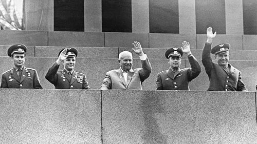 Yuri Gagarin (second from left) and other cosmonauts with Soviet Premier Nikita Khrushchev in 1962.