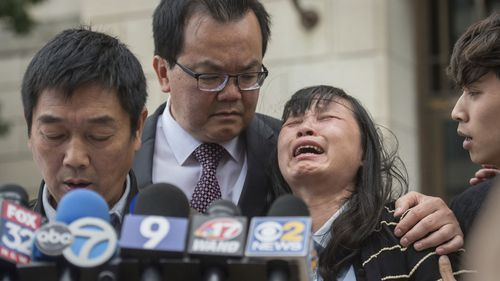 Yingying Zhang's mother weeps after the verdict is read.