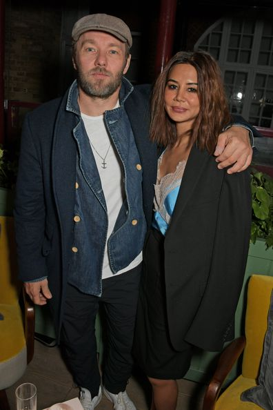 Joel Edgerton and Christine Centenera attend the Victoria Beckham x YouTube Fashion & Beauty after party at London Fashion Week.