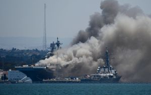 Twenty one people injured after explosion and fire on US Navy warship
