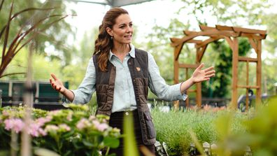 Catherine, Duchess of Cambridge talks to Martin and Jennie Turner, owners of the Fakenham Garden Centre in Norfolk, during her first public engagement since lockdown, on June 18, 2020 in Fakenham, United Kingdom