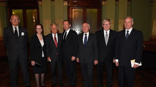 Malcolm Fraser with former prime ministers of Australia: Julia Gillard, Bob Hawke, Prime Minister Tony Abbott, John Howard, Kevin Rudd and Paul Keating at former Gough Whitlam's funeral in Novermber 2014. (AAP)