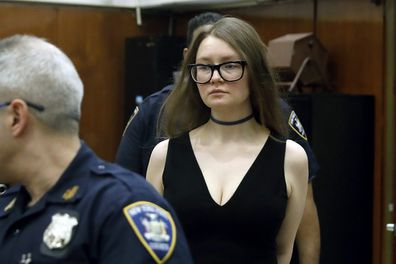 Anna Sorokin arrives in New York State Supreme Court for her trial on grand larceny charges, in New York in 2019.