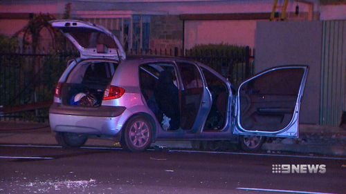 Maple's car hit a pole in Glengowrie on Sunday night. (9NEWS)