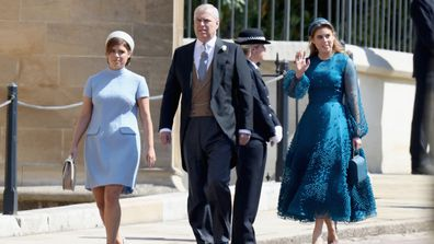 Princess Eugenie, Prince Andrew, Duke of York and Princess Beatrice attend the wedding of Prince Harry to Ms Meghan Markle at St George's Chapel, Windsor Castle on May 19, 2018 in Windsor, England.
