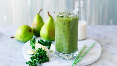 """Recipe:&nbsp;<a href=""""http://kitchen.nine.com.au/2017/07/11/16/39/green-kale-and-pear-smoothie"""" target=""""_top"""">Green kale and pear smoothie</a>"""