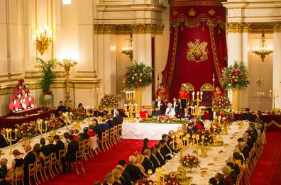 LONDON, ENGLAND - OCTOBER 20: Catherine, Duchess of Cambridge, President of China Xi Jinping and Prince Philip, Duke of Edinburgh listen to Britain's Queen Elizabeth II speaks during a state banquet at Buckingham Palace on October 20, 2015 in London, England.