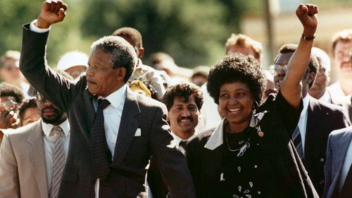 Mandela with his second wife, Winnie. Photo: AAP