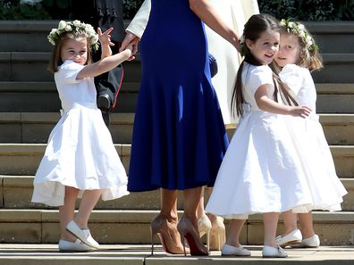 The Duchess of Cambridge with Princess Charlotte and other bridesmaids arrive at St George's Chapel in Windsor Castle for the wedding of Prince Harry and Meghan Markle. (Photo by Jane Barlow/PA Images via Getty Images)