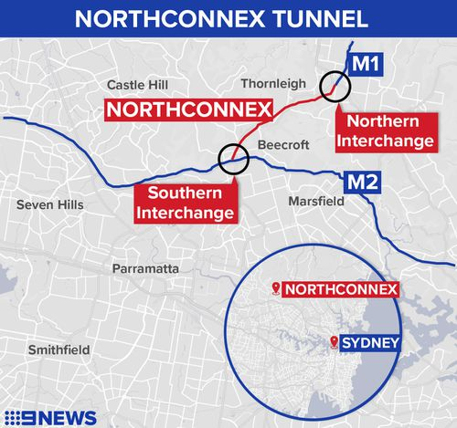 Map showing 9km-long NorthConnex tunnel in Sydney's north.