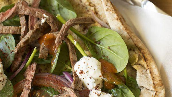 Beef doner kebabs with hummus and garlic mint yoghurt