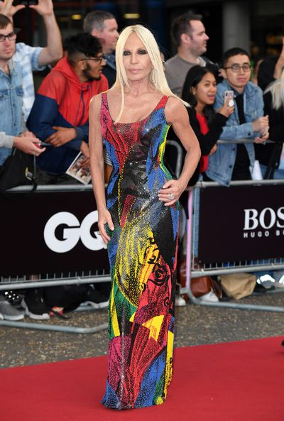 Designer Donatella Versace, in Versace, at the 2018 GQ Men of the Year Awards