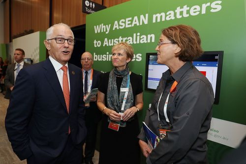 Mr Turnbull arrives for a Marketplace walk through at the ASEAN summit. Picture: AAP