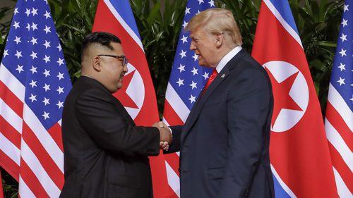 Kim Jong-un pictured meeting Donald Trump in June. Picture: AAP