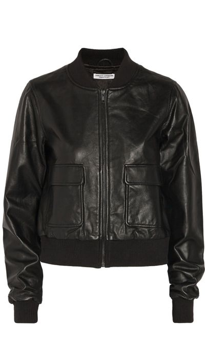 "<a href=""http://www.theoutnet.com/en-AU/product/Current-Elliott/And-Charlotte-Gainsbourg-The-Shrunken-cropped-leather-bomber-jacket/577747"">The Shruken Cropped Leather Bomber Jacket, $540, Current/Elliot x Charlotte Gainsbourg </a>"