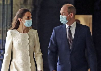 Prince William and Kate, Duchess of Cambridge arrive for a visit to the vaccination centre at Westminster Abbey, London, Tuesday, March 23, 2021 to pay tribute to the efforts of those involved in the Covid-19 vaccine rollout