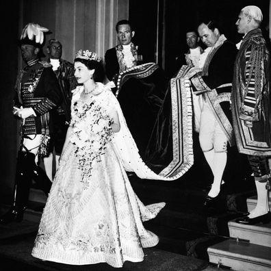 The Queen is photographed during her 1953 Coronation