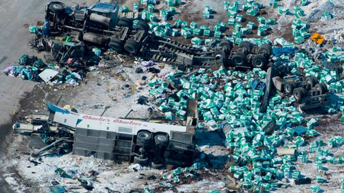 A doctor compared the bus and truck crash to an airstrike. (AP)