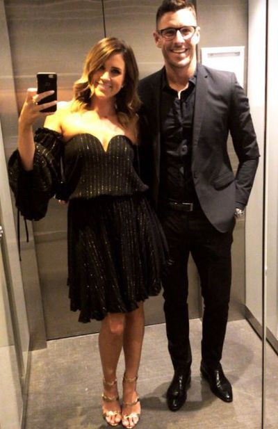 <p>Georgia Love and BF Lee Elliott are all smiles in the traditional lift selfie. </p> <p>Love, wearing a dress from Shona Joy</p>